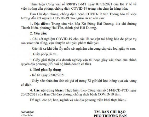 Hướng dẫn xét nghiệm COVID-19 cho người lái xe